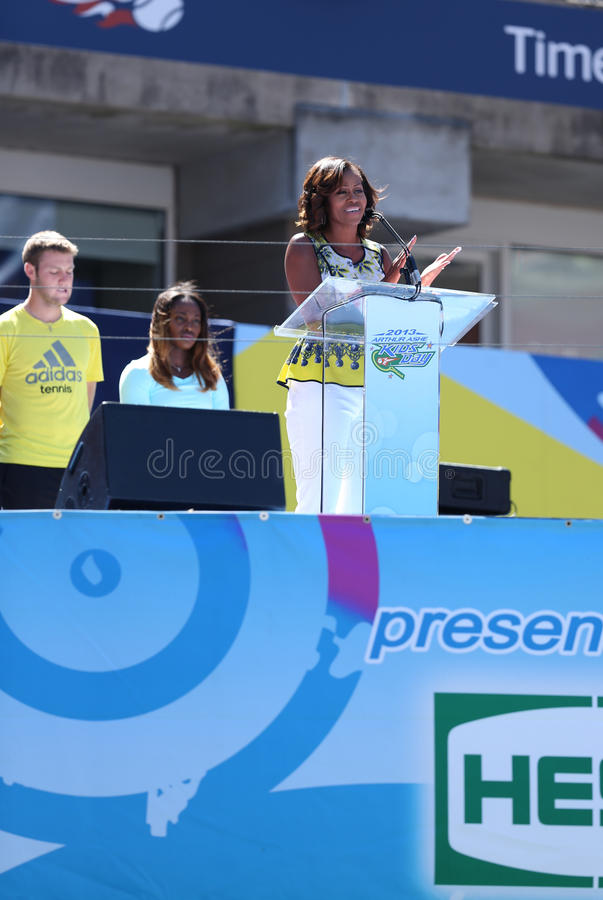 Download First Lady Michelle Obama Encourages Kids To Stay Active At Arthur Ashe Kids Day  At Billie Jean King National Tennis Center Editorial Stock Image - Image: 33178234