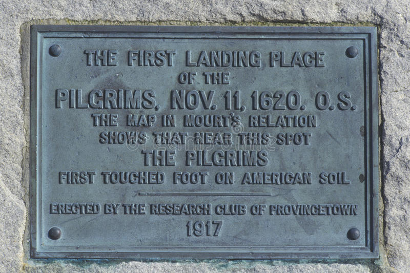 First landing spot of the Pilgrims, Provincetown, Cape Cod, Massachusetts stock photos