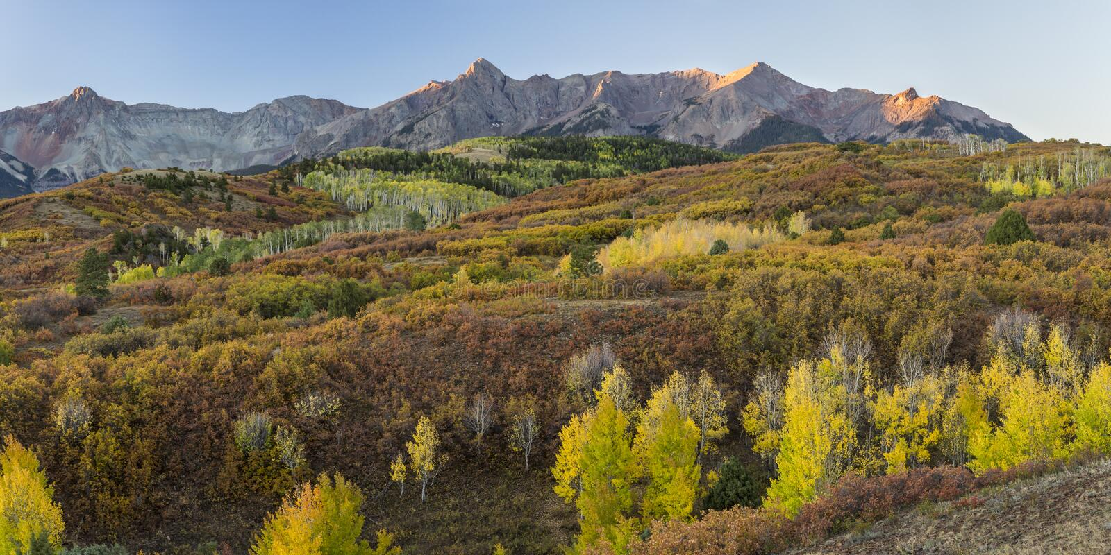 First Light on San Juan Peaks from the Dallas Divide royalty free stock image
