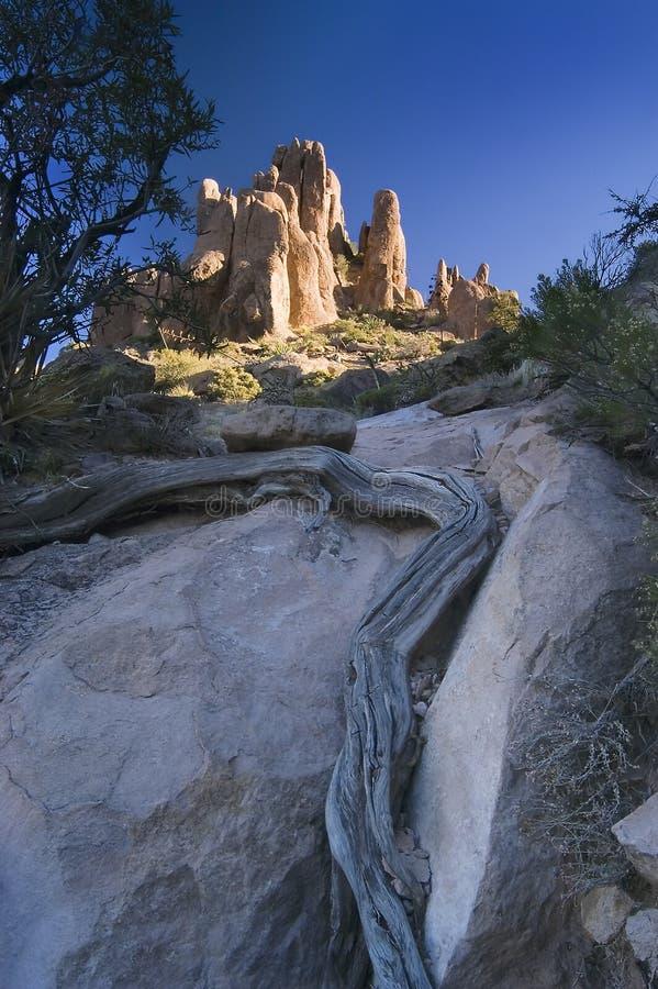 First Light on Superstition Mountain Hoodoos stock photo