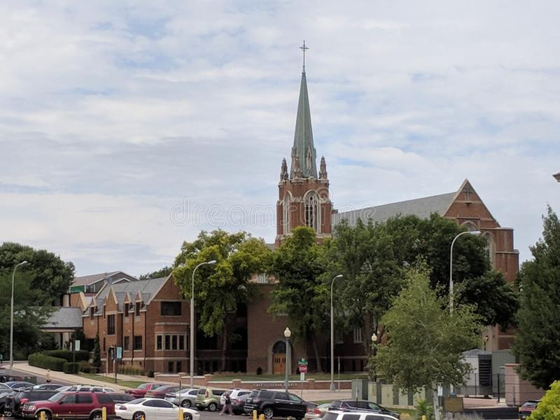 First Lutheran Church in Sioux Falls, SD. FLC was constructed using traditional Norwegian Stave construction methods. Downtown Sioux Falls, South Dakota stock photography