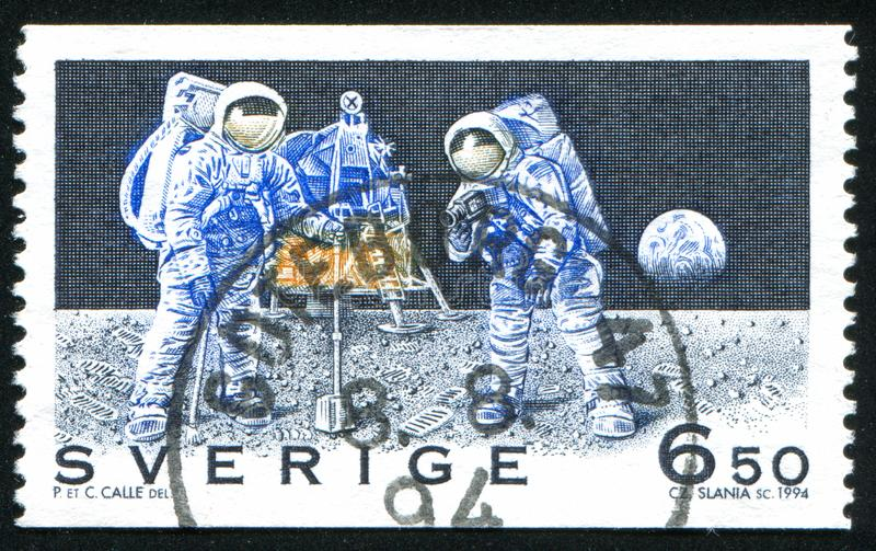First Manned Moon Landing. Sweden - CIRCA 1994: stamp printed by Sweden, shows First Manned Moon Landing, circa 1994 royalty free stock image