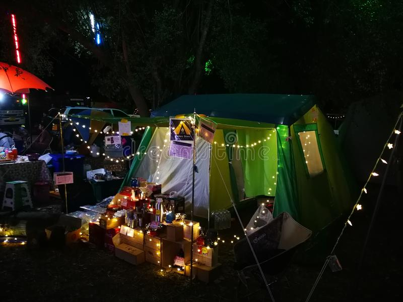 Market of camping item and accessories royalty free stock photography
