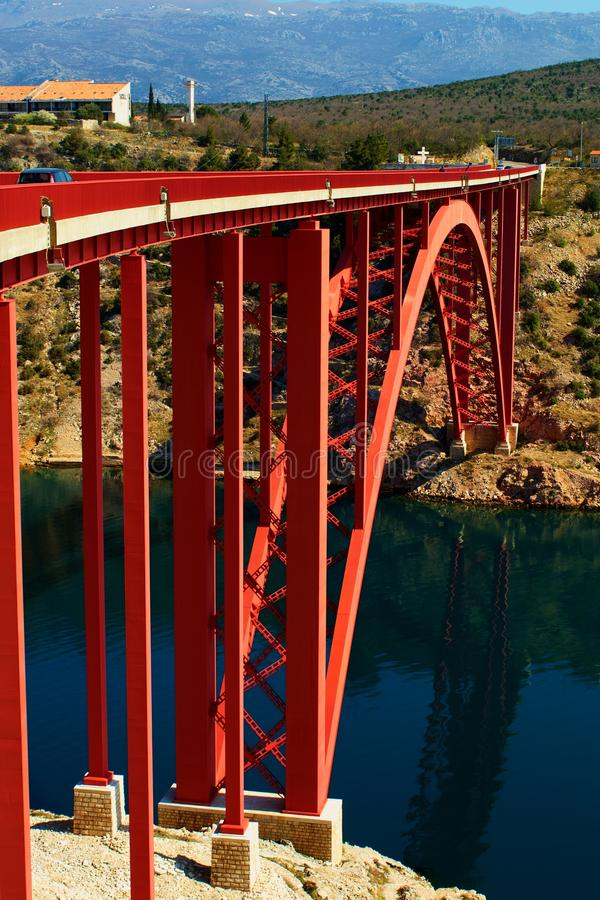 The first Maslenica Bridge royalty free stock photography
