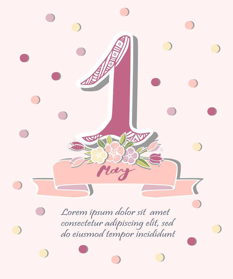 First of May text with flower wreath and pink ribbon vector illustration