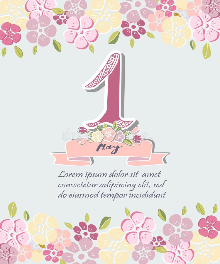 First of May text isolated on background with flowers. royalty free illustration