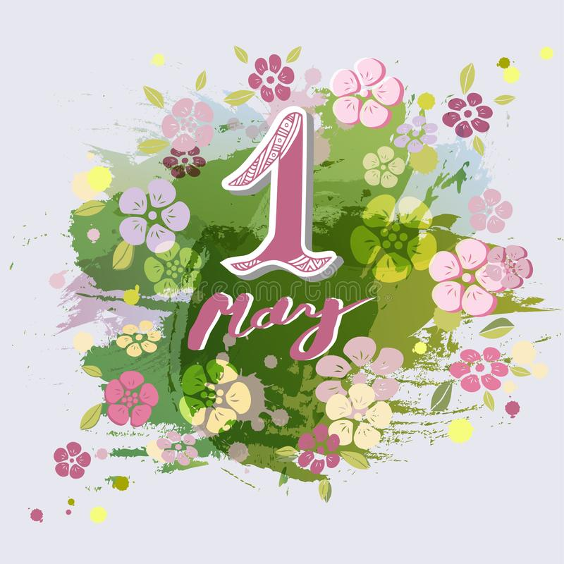 First of May text isolated on background with flowers. stock illustration