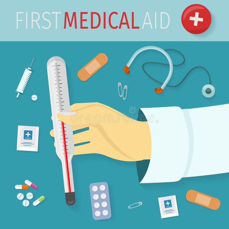 First Medical Aid Vector Concept in Flat Design stock illustration