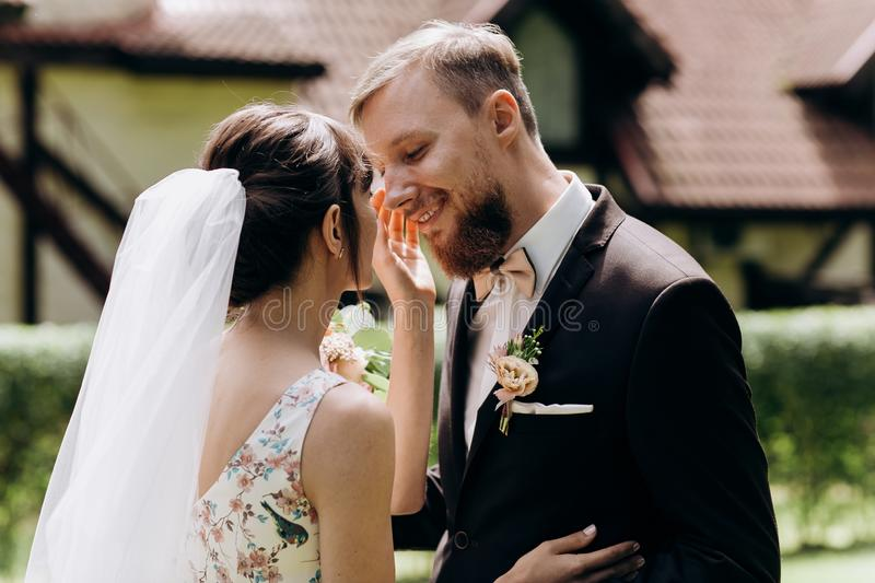 The first meeting of the bride and groom on the wedding day stock image