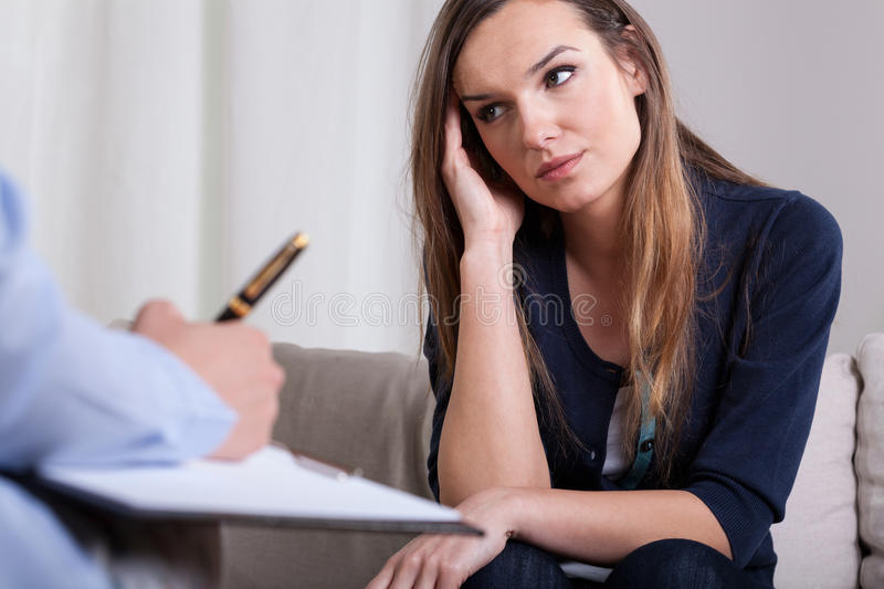 First meeting with psychotherapist stock photo