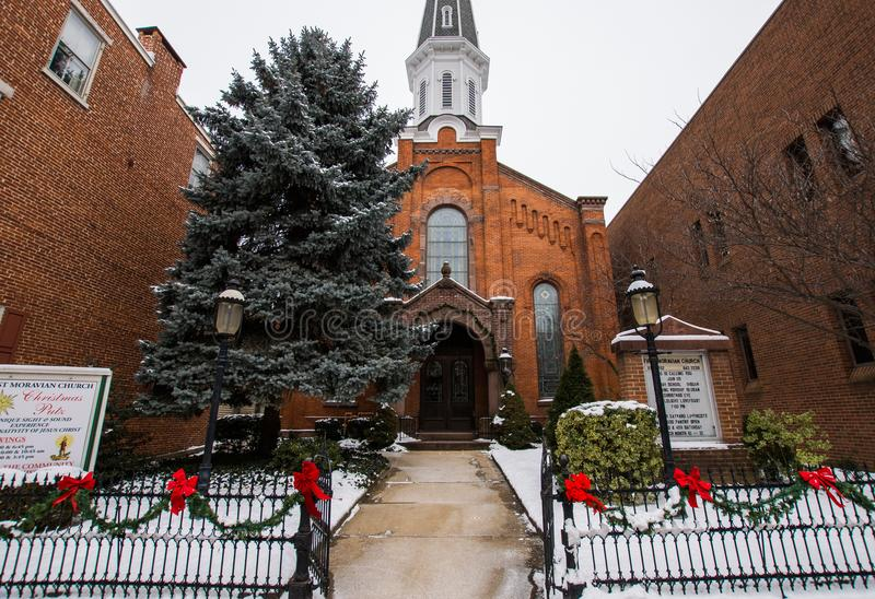 First Moravian Church in York, Pannsylvania decorated for christ royalty free stock images