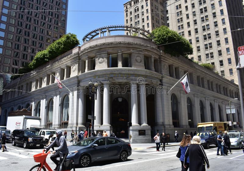 The Montgomery and Post Streets Wells Fargo bank, is still making history. stock photos