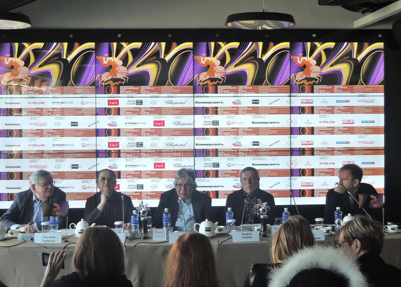First official press-conference of 40th Moscow International Film Festival. stock photos