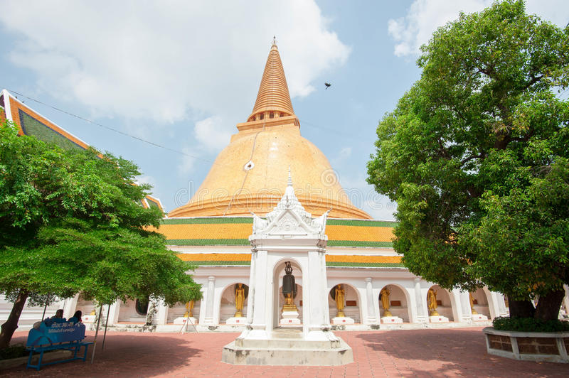 The first pagoda, Phra Pathom Jedi. In Nakronpathom, Thailand royalty free stock photo