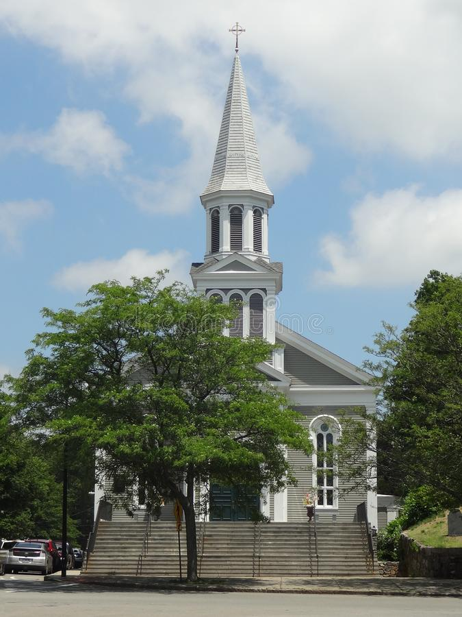 The First Parish Church in Downtown Concord. MA. The First Parish in Concord, Massachusetts - Unitarian Universalist Church Gathered in 1636 stock images