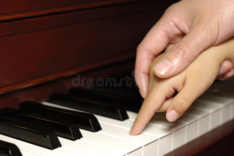 First piano lesson royalty free stock image