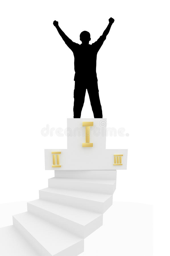 First place. Champion took first place in the competition stands on a pedestal vector illustration