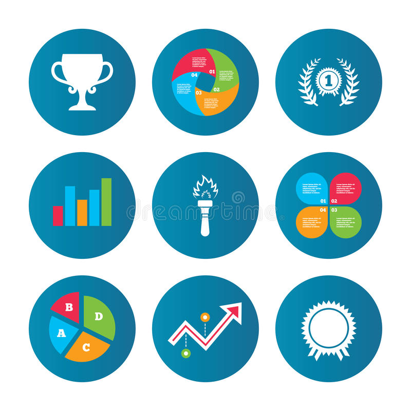 First place award cup icons. Prize for winner. Business pie chart. Growth curve. Presentation buttons. First place award cup icons. Laurel wreath sign. Torch royalty free illustration