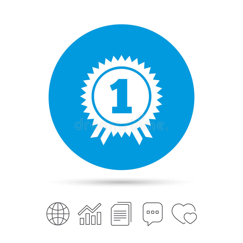 First place award sign icon. Prize for winner. First place award sign icon. Prize for winner symbol. Copy files, chat speech bubble and chart web icons. Vector royalty free illustration