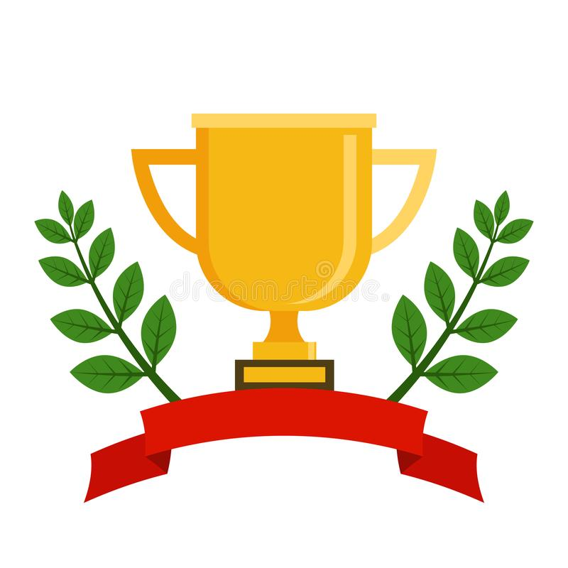 First place cup award sign icon. Prize for winner symbol. Laurel Wreath. Trophy, vector illustration in flat style stock illustration