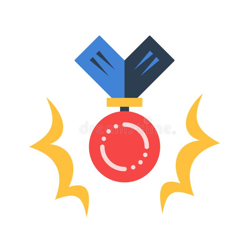 First place medal, best performance, great results. First place medal, competition award, best performance, great results, vector flat illustration vector illustration