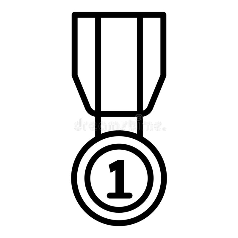 First place medal icon, outline style. First place medal icon. Outline first place medal vector icon for web design isolated on white background stock illustration