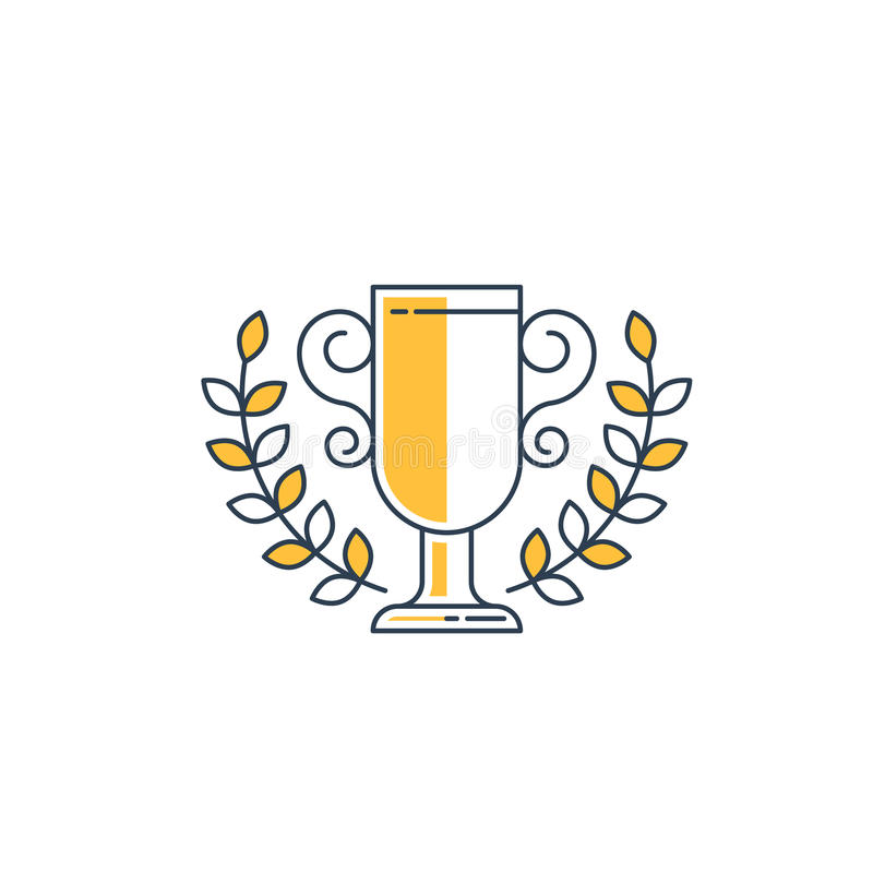 First place prize, honours and laurels, victory celebration. Champion cup with a laurel wreath. Distinction mark. Winner award, vector illustration royalty free illustration