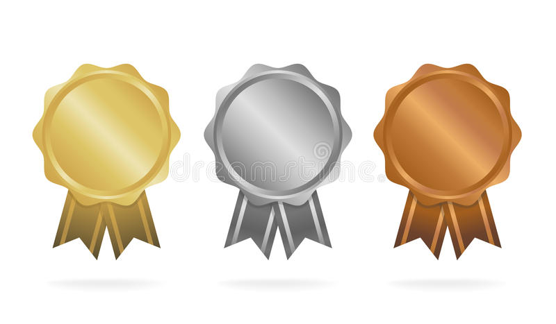 First place. Second place. Third place. Award Medals Set isolated on white with ribbons and stars. Vector illustration royalty free illustration