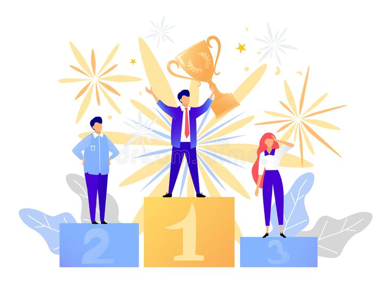 First place winner award. Champion standing on a podium with a prize. Man victory concept. Success vector vector illustration