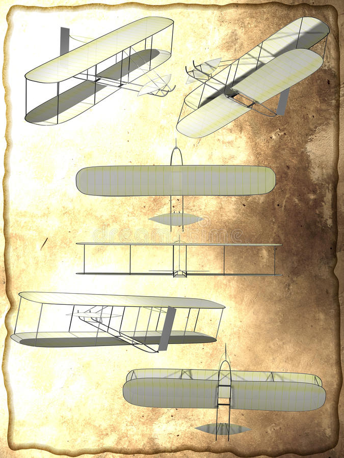 The first plane. Based on the original 1902 photography, several images of the first airplane vector illustration