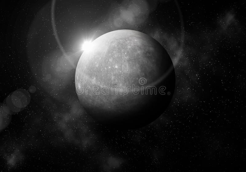 First planet from the Sun is Mercury ,Solar system planetarium.  vector illustration
