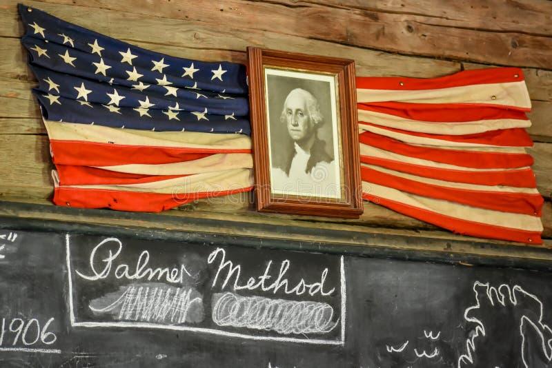 President George Washington Photo Hanging with Flag stock images