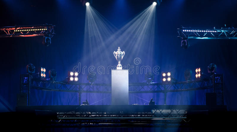 First prize trophy on a pedestal royalty free stock image