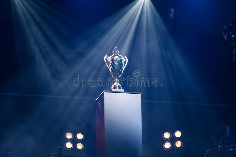 First prize trophy on a pedestal royalty free stock photo