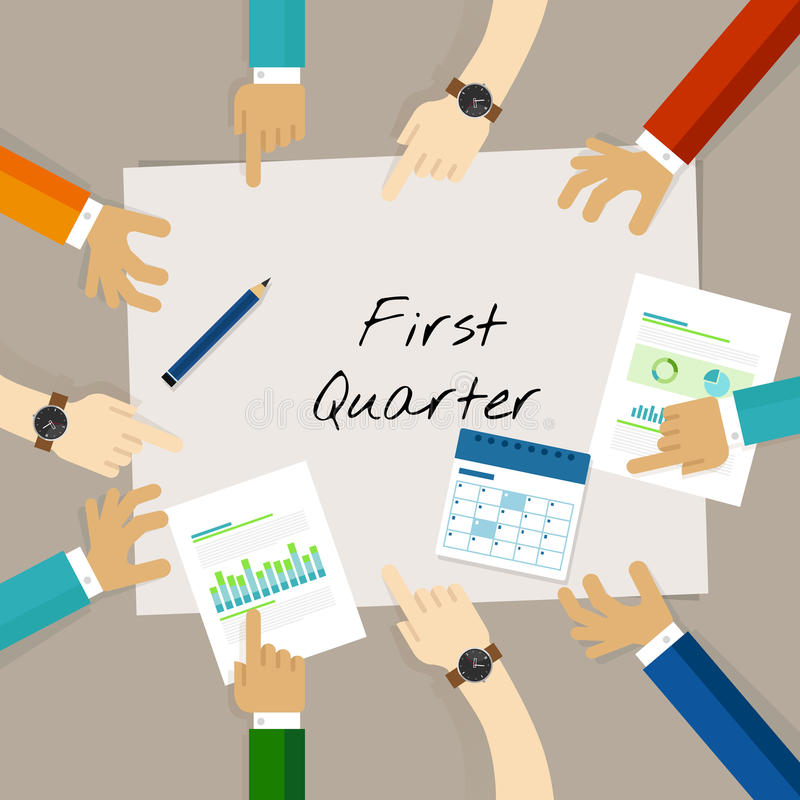 First quarter business report target corporate financial result stock illustration