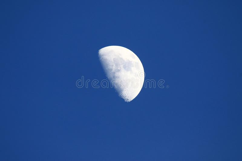 First quarter moon. The moon in first quarter of the lunar phase in daylight stock photos