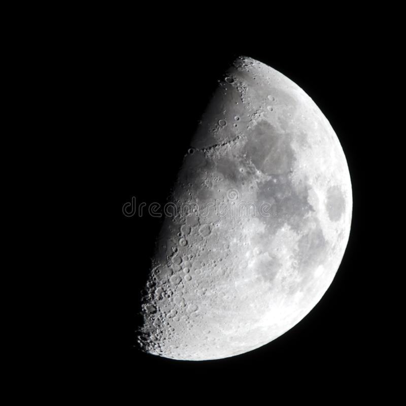 First Quarter Moon Phase royalty free stock photo