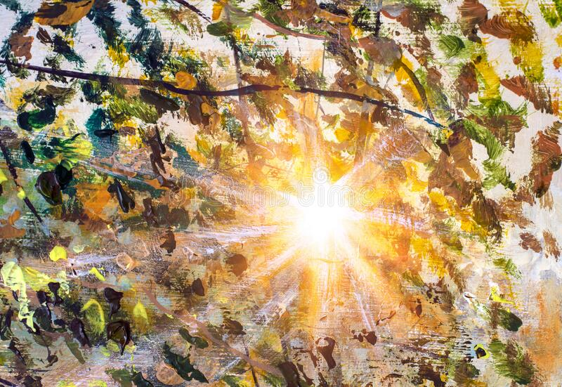First rays of sun dawn sunset in the foliage of tree branches - fragment of acrylic painting. royalty free stock photos