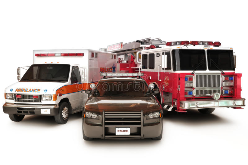 First responder vehicles. Ambulance,police and fire truck on a white background vector illustration