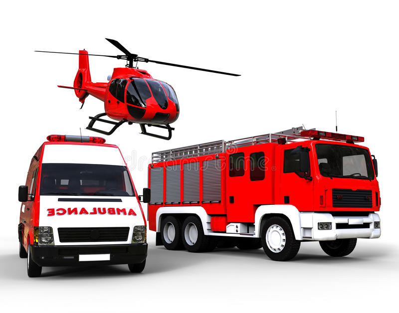 First responder vehicles. 3D render image representing an Ambulance,police and fire truck on a white background royalty free illustration