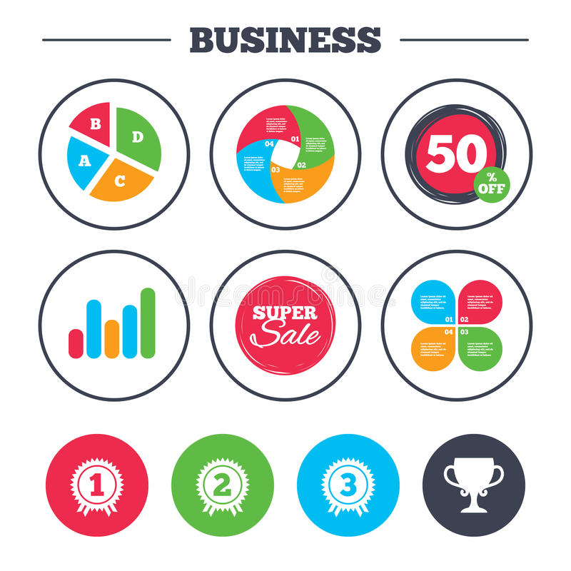 First, second and third place icons. Award medal. Business pie chart. Growth graph. First, second and third place icons. Award medals sign symbols. Prize cup stock illustration