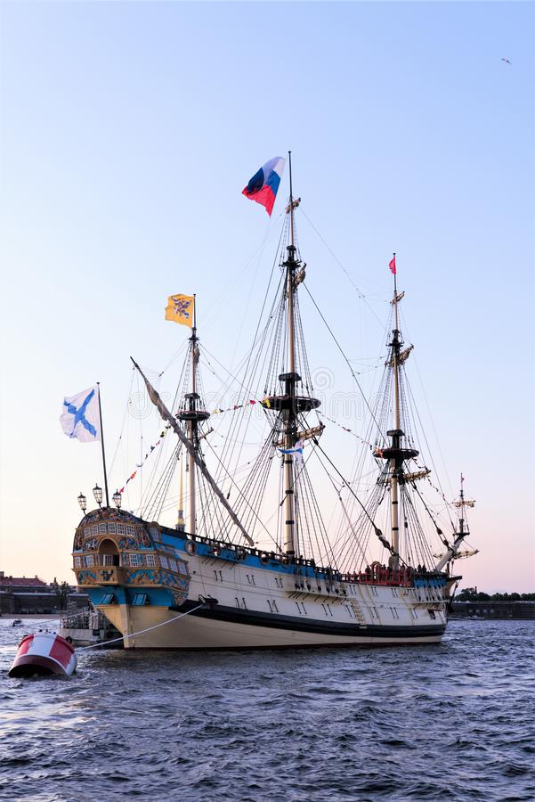 St. Petersburg, Russia, July 2019.The first Russian brig `Poltava` on the Neva River. The first self-built Russian large ship of the line, revived according to royalty free stock photography