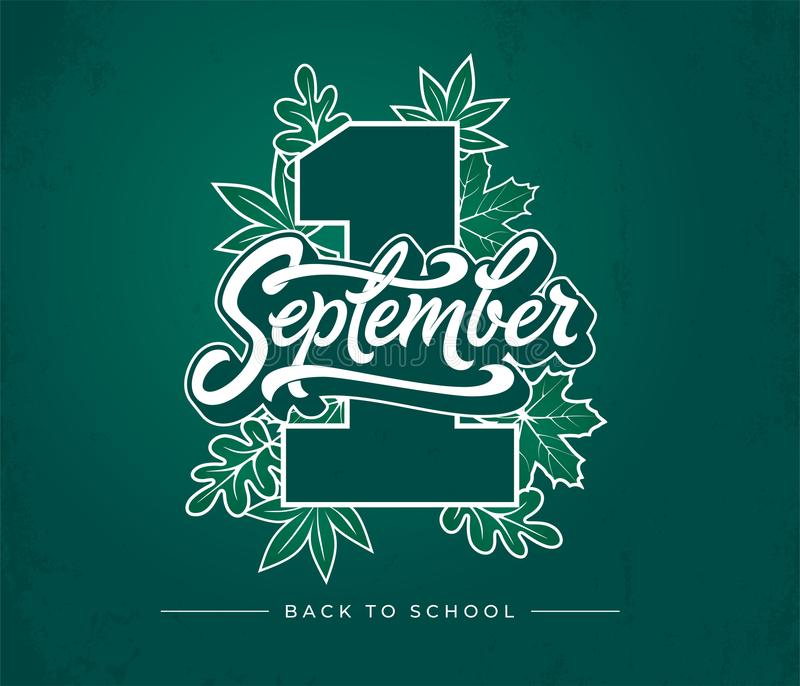 1 first september brush lettering on green chalkboard background. Vector illustration with autumn leaves and Back to royalty free illustration