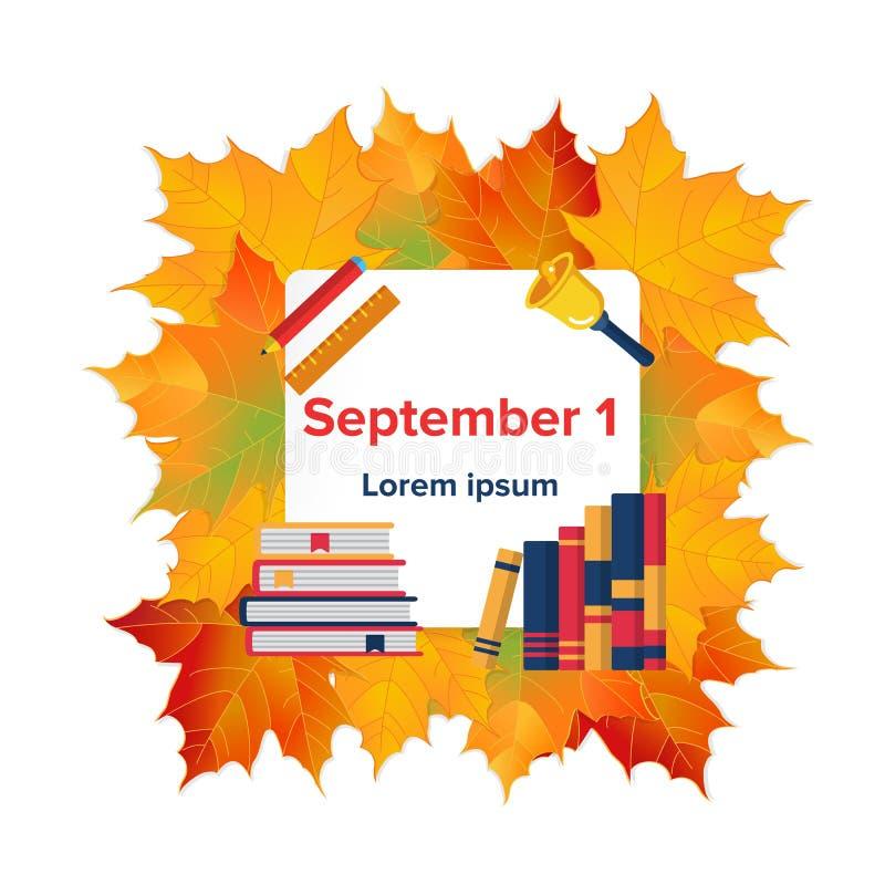 First September flat banner vector illustration