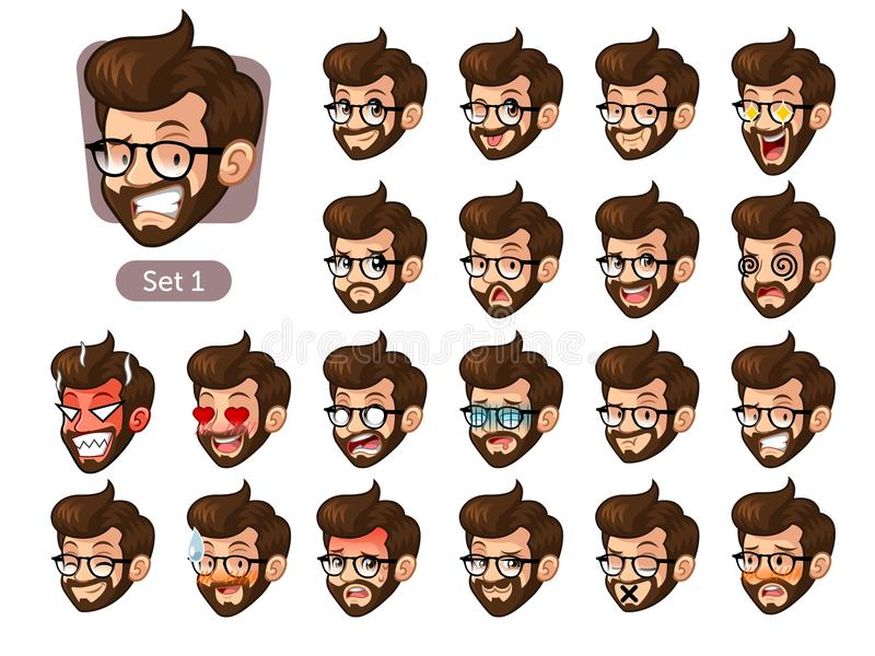 The first set of bearded hipster facial emotions with glasses stock photo