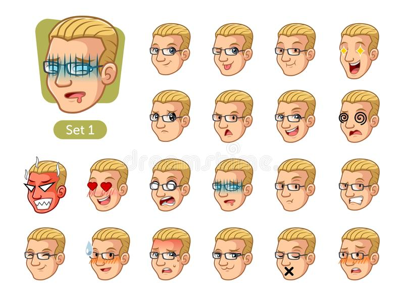 The first set of male facial emotions with blonde hair royalty free stock image