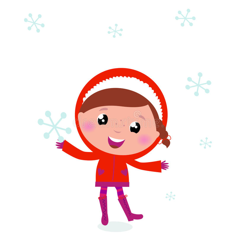 Download First Snow: Cute Winter Child Holding Snowflake Stock Vector - Illustration: 21461424