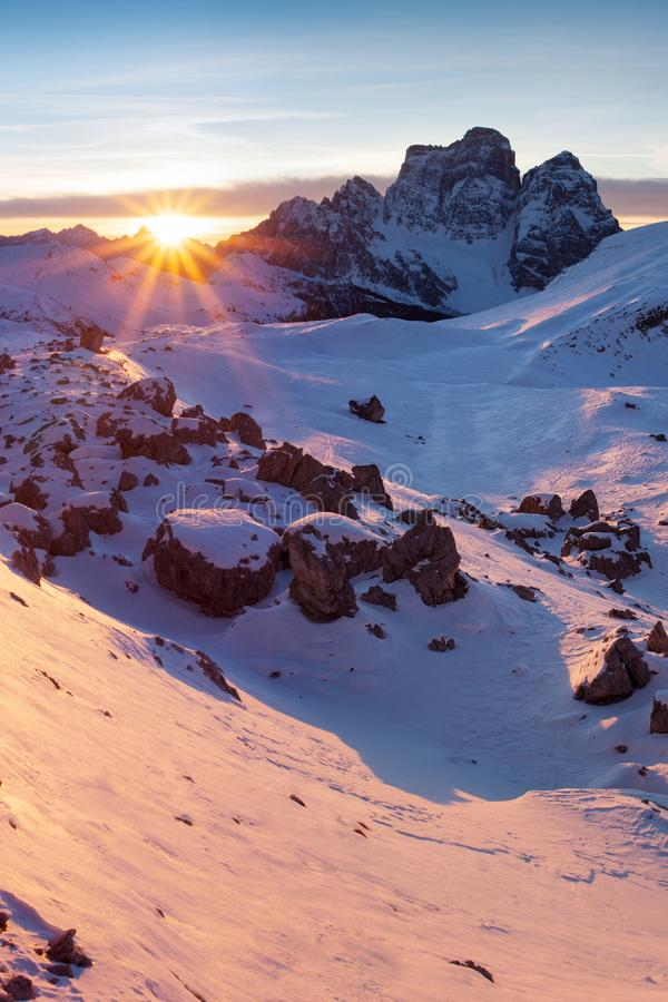 Free First Snow In Alps. Fantastic Sunrise In The Dolomites Mountains, South Tyrol, Italy In Winter. Italian Alpine Panorama Dolomites. Royalty Free Stock Photos - 141353708