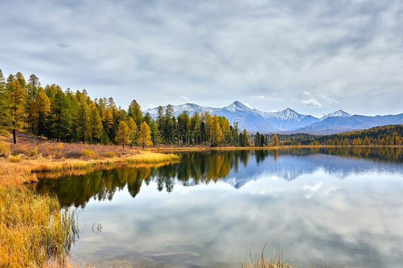 First snow on Lake. Colorful autumn landscape. stock photos