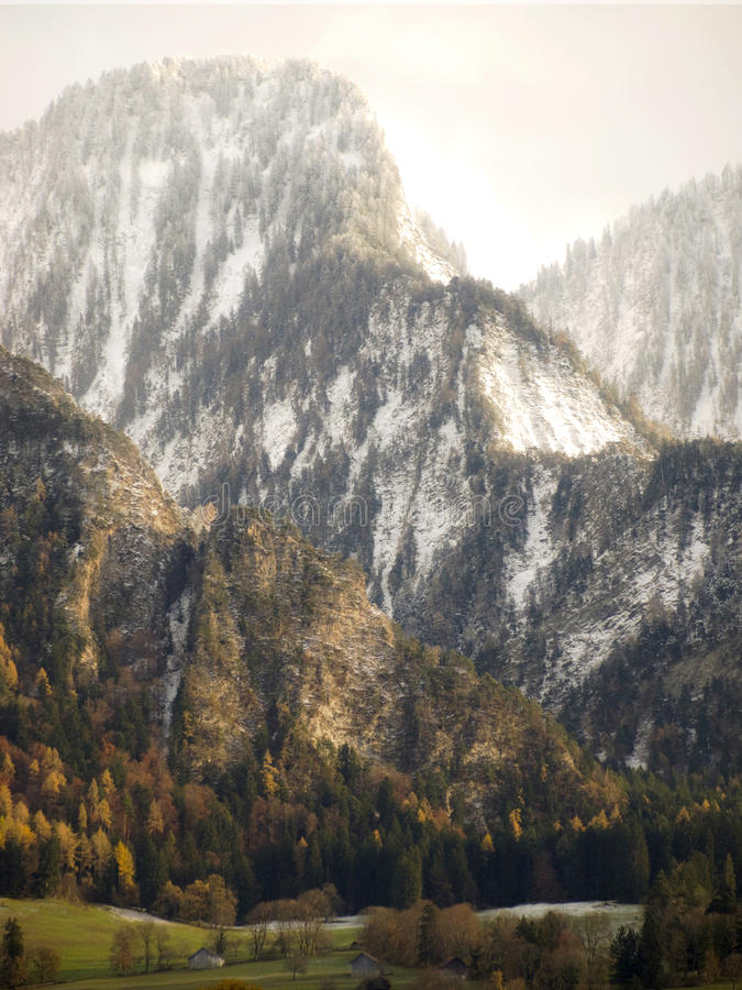First snow in Landquart mountains in Switzerland. royalty free stock photos